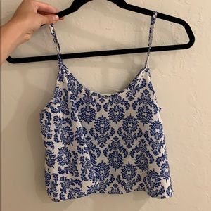 Blue and white design tank top